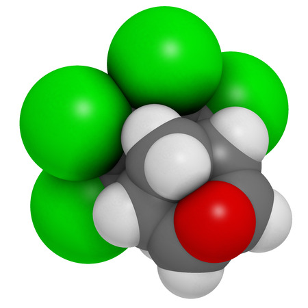 persistent: Dieldrin pesticide molecule. Insecticide that persists for very long time in environment (Persistent Organic Pollutant). Atoms are represented as spheres with conventional color coding: hydrogen (white), carbon (grey), nitrogen (blue), oxygen (red), chlor