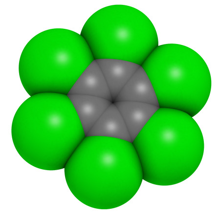 carcinogen: Hexachlorobenzene (perchlorobenzene, HCB) banned fungicide molecule. Persistent Organic Pollutant and probable human carcinogen. Atoms are represented as spheres with conventional color coding: hydrogen (white), carbon (grey), chlorine (green). Stock Photo