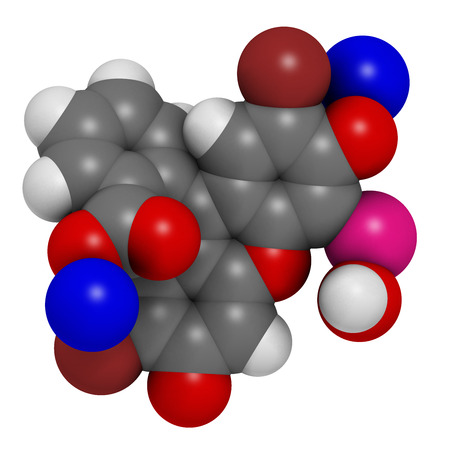 antiseptic: Merbromin topical antiseptic molecule. Used to treat wounds. Contains mercury. Atoms are represented as spheres with conventional color coding: hydrogen (white), carbon (grey), sodium (blue), oxygen (red), bromine (brown), mercury (pink).