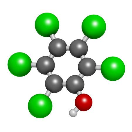 d�sinfectant: Le pentachloroph�nol (PCP) de pesticides et de la mol�cule d�sinfectante. Souvent utilis� pour la pr�servation du bois. Atomes sont repr�sent�s comme des sph�res avec codage classique de couleur: l'hydrog�ne (blanc), le carbone (gris), chlore (vert), l'oxyg�ne (rouge).