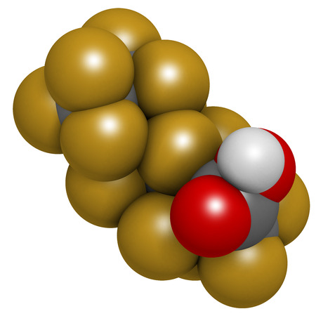 persistent: Perfluorooctanoic acid (PFOA, C8) molecule. Important and persistent pollutant. Atoms are represented as spheres with conventional color coding: hydrogen (white), carbon (grey), fluorine (gold), oxygen (red).