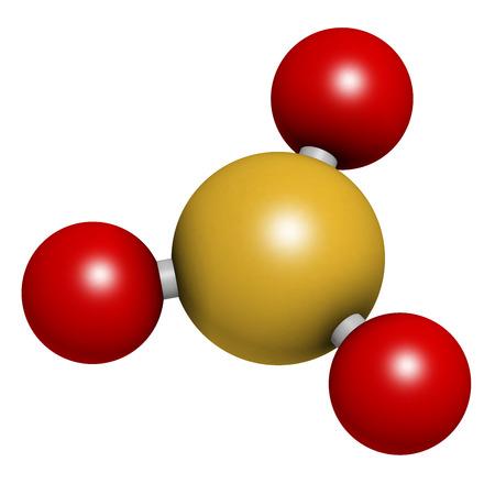 kwaśne deszcze: Trójtlenek siarki cząsteczka zanieczyszczeń. Głównym czynnikiem w kwaśnych deszczów. Atomy są reprezentowane sfer z konwencjonalnego kodowania kolorów: siarki (żółty), tlen (czerwony). Zdjęcie Seryjne