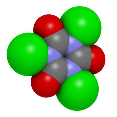 d�sinfectant: Acide trichloro (TCAC) mol�cule. Utilis� comme d�sinfectant piscine, dans l'assainissement civile, comme agent de blanchiment, etc atomes sont repr�sent�s comme des sph�res avec codage classique de couleur: l'hydrog�ne (blanc), le carbone (gris), l'azote (bleu), l'oxyg�ne (rouge), c