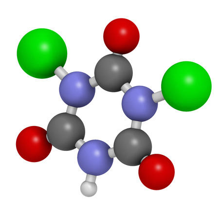 disinfectant: Troclosene (dichloroisocyanuric acid) molecule. Used as disinfectant, deodorant, biocide, detergent and in water purification. Atoms are represented as spheres with conventional color coding: hydrogen (white), carbon (grey), nitrogen (blue), oxygen (red), Stock Photo