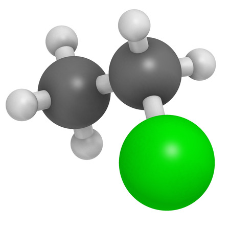 topical: Chloroethane (ethylchloride) molecule. Used as mild topical anesthetic agent and as recreational inhalant drug. Atoms are represented as spheres with conventional color coding: hydrogen (white), carbon (grey), chlorine (green).