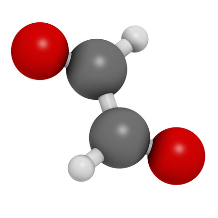 dimer: Glyoxal dialdehyde molecule. Present in fermented food and beverages. Many applications in chemical industry. Atoms are represented as spheres with conventional color coding: hydrogen (white), carbon (grey), oxygen (red).