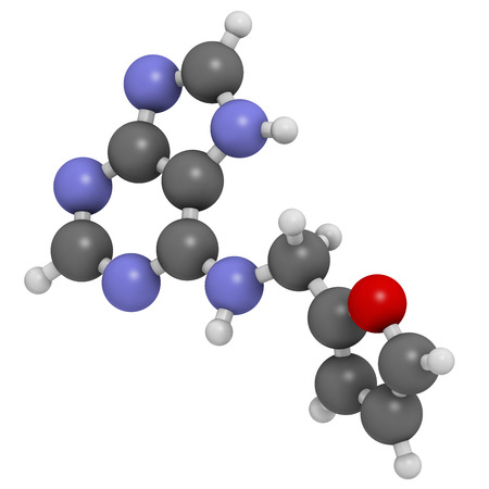 phytohormone: Kinetin (N6-furfuryladenine) plant hormone molecule. Promotes cell division in plants. Used in skin care and cosmetics for supposed anti-aging properties. Atoms are represented as spheres with conventional color coding: hydrogen (white), carbon (grey), ni