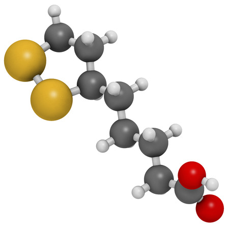 acido: Molécula cofactor de la enzima ácido lipoico. Presente en muchos suplementos nutricionales. Se cree que tienen propiedades anti-oxidante, anti-envejecimiento y los efectos de pérdida de peso. Los átomos se representan como esferas con codificación convencional color: hidrógeno (blanco), el carbón (gris), oxígeno (roja