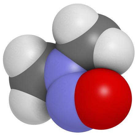 carcinogen: N-nitrosodimetilamina (dimetilnitrosamina, NDMA, DMN) mol�cula contaminante. Altamente t�xicos, especialmente para el h�gado y sospecha que es carcin�geno. Los �tomos se representan como esferas con codificaci�n convencional color: hidr�geno (blanco), el carb�n (gris), nitr�geno (azul), Foto de archivo