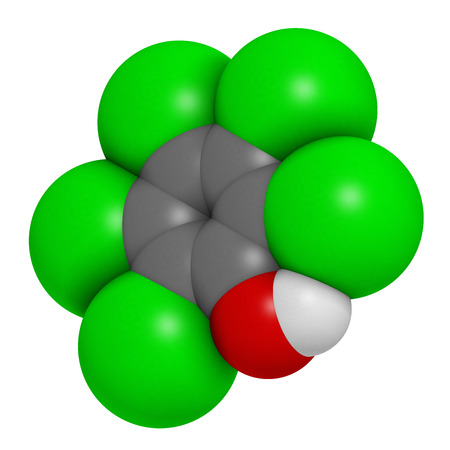 Pentachlorophenol (PCP) pesticide and disinfectant molecule. Often used for wood preservation. Atoms are represented as spheres with conventional color coding: hydrogen (white), carbon (grey), chlorine (green), oxygen (red).