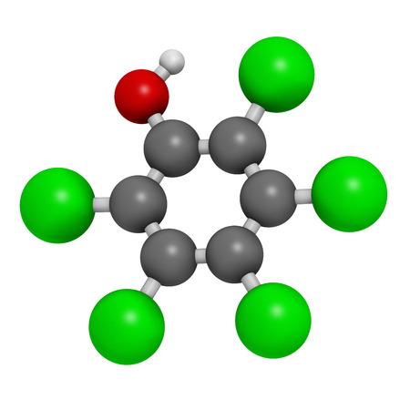 desinfectante: El pentaclorofenol (PCP) de plaguicidas y la mol�cula desinfectante. A menudo se utiliza para la conservaci�n de la madera. Los �tomos se representan como esferas con codificaci�n convencional de color: hidr�geno (blanco), de carbono (gris), cloro (verde), ox�geno (rojo). Foto de archivo