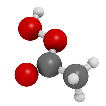 antimicrobial: Peracetic acid (peroxyacetic acid, paa) disinfectant molecule. Organic peroxide commonly used as antimicrobial agent. Atoms are represented as spheres with conventional color coding: hydrogen (white), carbon (grey), oxygen (red).