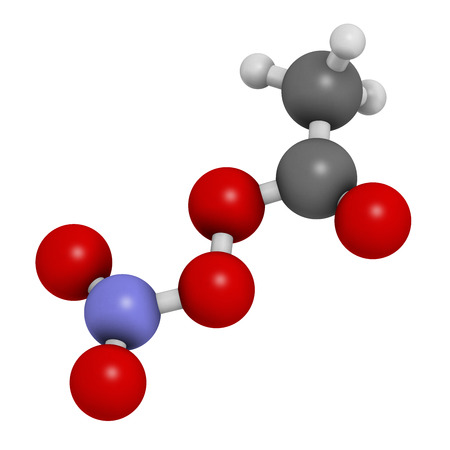 nitrate: Peroxyacetyl nitrate (PAN) pollutant molecule. Secondary pollutant, found in photochemical smog. Further decomposes into peroxyethanol radical and nitrogen dioxide. Atoms are represented as spheres with conventional color coding: hydrogen (white), carbon