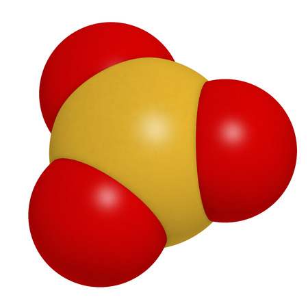 acid rain: Sulfur trioxide pollutant molecule. Principal agent in acid rain. Atoms are represented as spheres with conventional color coding: sulfur (yellow), oxygen (red).