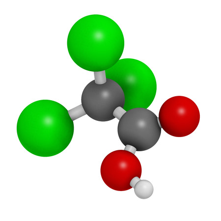 warts: Trichloroacetic acid (TCA) molecule. Used in dermatological treatment of warts and related skin conditions. Atoms are represented as spheres with conventional color coding: hydrogen (white), carbon (grey), oxygen (red), chlorine (green).