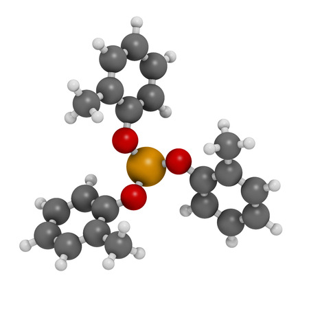 phosphate: Tricresyl phosphate (TCP) molecule. Used as plasticizer, for waterproofing, as flame retardant, etc. Known to be neurotoxin. Atoms are represented as spheres with conventional color coding: hydrogen (white), carbon (grey), oxygen (red), phosphorus (orange