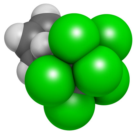 persistent: Aldrin banned pesticide. Once widely used as insecticide, known as a persistent organic pollutant. Atoms are represented as spheres with conventional color coding: hydrogen (white), carbon (grey), chlorine (green).