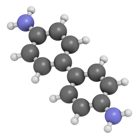 amine: Benzidine (4,4'-diaminobiphenyl) chemical. Highly carcinogenic. Used in production of dyes. Atoms are represented as spheres with conventional color coding: hydrogen (white), carbon (grey), nitrogen (blue).