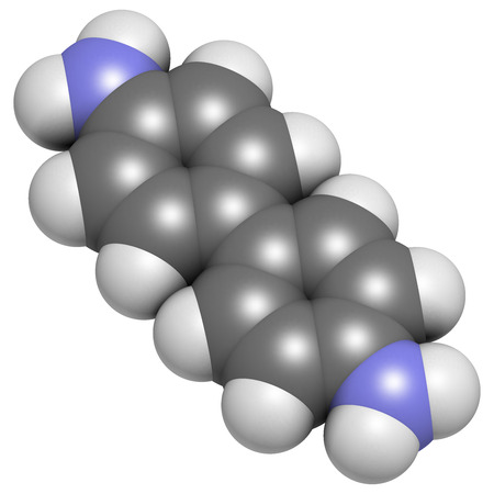 Benzidine (4,4'-diaminobiphenyl) chemical. Highly carcinogenic. Used in production of dyes. Atoms are represented as spheres with conventional color coding: hydrogen (white), carbon (grey), nitrogen (blue). Stock Photo - 25287682