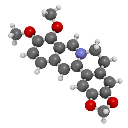 ammonium: Berberine alkaloid molecule. Present in number of plants. Used as a yellow dye and as a traditional antifungal medicine. Atoms are represented as spheres with conventional color coding: hydrogen (white), carbon (grey), oxygen (red).