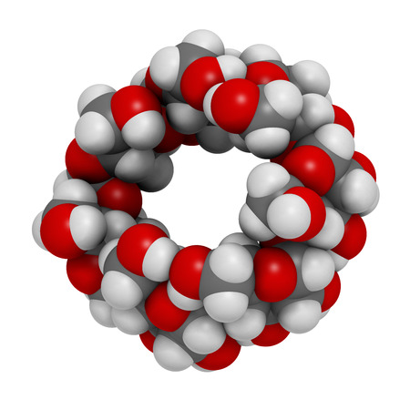 Beta-cyclodextrin molecule. Used in pharmaceuticals, food, deodorizing products, etc. Composed of glucose molecules. Atoms are represented as spheres with conventional color coding: hydrogen (white), carbon (grey), oxygen (red). Stock Photo
