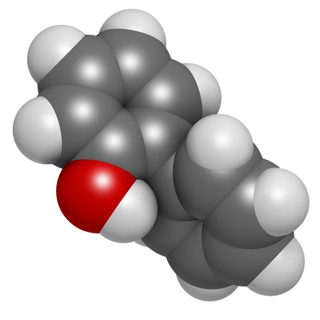 살균제: 2 - 페닐 살 생물 분자. 일반적으로, 방부제 사용도 biphenylol 및 orthophenyl 페놀라고도합니다. 수소 (흰색), 탄소 (회색), 산소 (적색) : 원자는 기존의 컬러 코딩 분야로 표시됩니다.