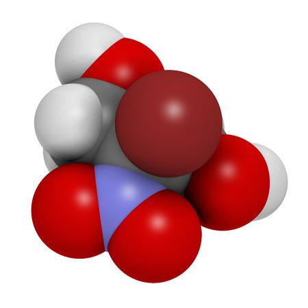 carcinogen: Mol�cula conservante bronopol. Posiblemente carcin�geno a trav�s de la formaci�n de nitrosaminas. Los �tomos se representan como esferas con codificaci�n convencional color: hidr�geno (blanco), el carb�n (gris), ox�geno (roja), nitr�geno (azul), bromo (marr�n). Foto de archivo