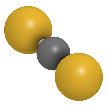fumigation: Carbon disulfide (CS2) molecule. Liquid used for fumigation and as insecticide. Atoms are represented as spheres with conventional color coding: sulfur (yellow), carbon (grey).