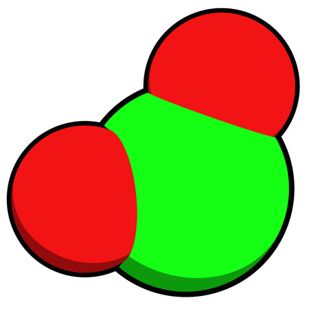 Chlorine dioxide (ClO2) molecule. Used in pulp bleaching and for disinfection of drinking water. Atoms are represented as spheres with conventional color coding: chlorine (green), oxygen (red).