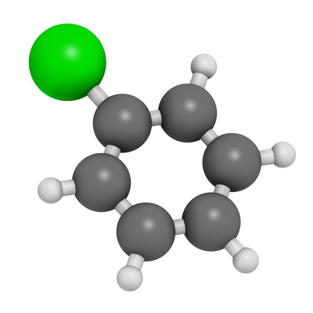 benzene: Chlorobenzene industrial solvent molecule. Atoms are represented as spheres with conventional color coding: hydrogen (white), carbon (grey), chlorine (green).
