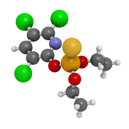 Chlorpyrifos organophosphate pesticide molecule. Toxic and carcinogenic. Mainly used in agriculture. Atoms are represented as spheres with conventional color coding: hydrogen (white), carbon (grey), nitrogen (blue), oxygen (red), sulfur (yellow), phosphor Imagens - 25287804