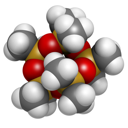 silicium: Decamethylcyclopentasiloxane (D5) molecule. Cyclic silicone chemical, frequently used in cosmetics (deodorants, sunblocks, hair and skin care, etc.). Atoms are represented as spheres with conventional color coding: hydrogen (white), carbon (grey), oxygen  Stock Photo