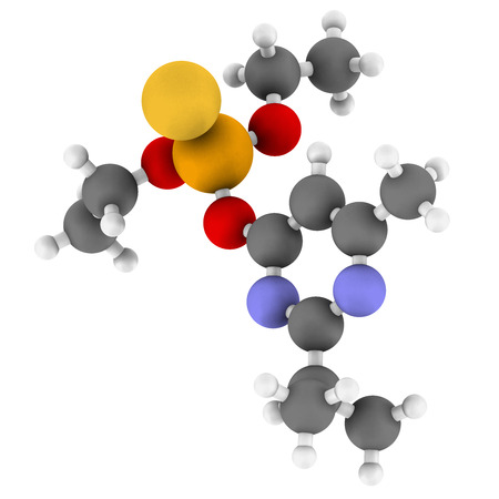acetylcholinesterase: Diazinon organophosphate insecticide molecule. Atoms are represented as spheres with conventional color coding: hydrogen (white), carbon (grey), nitrogen (blue), oxygen (red), sulfur (yellow), phosphorus (orange). Stock Photo