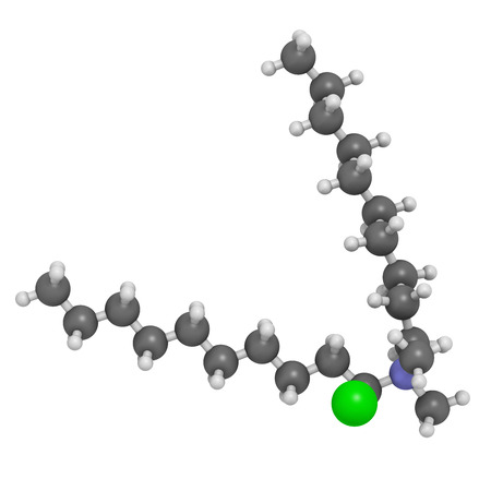 disinfectant: Didecyldimethylammonium chloride antiseptic molecule. Biocidal disinfectant, active against bacteria and fungi. Atoms are represented as spheres with conventional color coding: hydrogen (white), carbon (grey), nitrogen (blue), chlorine (green).
