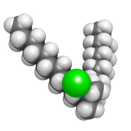 bactericidal: Didecyldimethylammonium chloride antiseptic molecule. Biocidal disinfectant, active against bacteria and fungi. Atoms are represented as spheres with conventional color coding: hydrogen (white), carbon (grey), nitrogen (blue), chlorine (green).