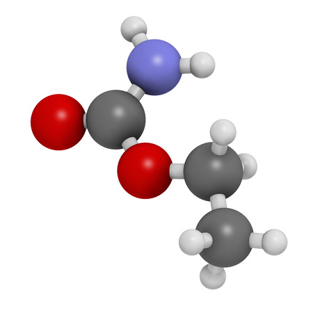 myeloma: Ethyl carbamate carcinogenic molecule. Present in fermented food and beverages and especially in distilled beverages. Atoms are represented as spheres with conventional color coding: hydrogen (white), carbon (grey), nitrogen (blue), oxygen (red).