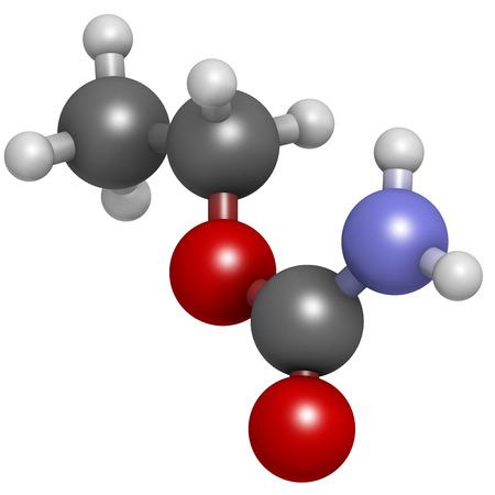distilled: Etil carbammato molecola cancerogena. Presente in alimenti e bevande fermentati e soprattutto in bevande distillate. Gli atomi sono rappresentati come sfere con codifica a colori convenzionale: idrogeno (bianco), carbonio (grigio), azoto (blu), ossigeno (rosso). Archivio Fotografico