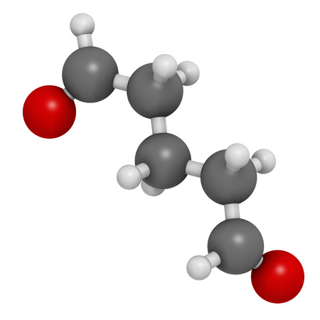 desinfectante: Glutaraldeh�do (glutaral) mol�cula desinfectante. Se utiliza en la desinfecci�n de los dispositivos m�dicos e instrumentos quir�rgicos. Los �tomos se representan como esferas con codificaci�n convencional color: hidr�geno (blanco), el carb�n (gris), ox�geno (roja).