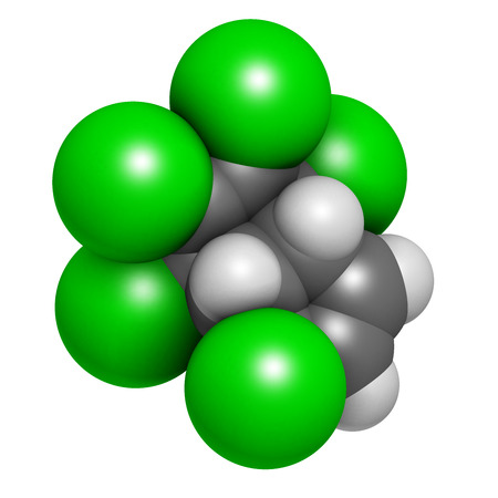 persistent: Heptachlor organochlorine pesticide molecule. Insecticide and known Persistent Organic Pollutant (POP) Atoms are represented as spheres with conventional color coding: hydrogen (white), carbon (grey), chlorine (green). Stock Photo