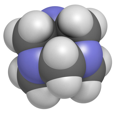 bactericidal: Hexamethylenetetramine (methenamine) molecule. Medically used to treat urinary tract infection. Used as food preservative (E239). Atoms are represented as spheres with conventional color coding: hydrogen (white), carbon (grey), nitrogen (blue).