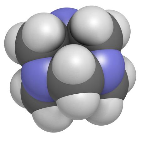 bactericidal: Hexametilentetramina (metenamina) mol�cula. M�dicamente se utiliza para tratar la infecci�n del tracto urinario. Se utiliza como conservante de alimentos (E239). Los �tomos se representan como esferas con codificaci�n convencional color: hidr�geno (blanco), el carb�n (gris), nitr�geno (azul).