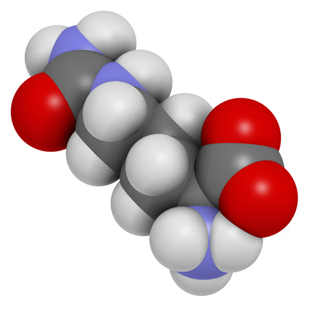 amoniaco: Molécula de aminoácido citrulina. Presente en algunos suplementos dietéticos deportivos. Los átomos se representan como esferas con codificación convencional color: hidrógeno (blanco), el carbón (gris), nitrógeno (azul), el oxígeno (roja).