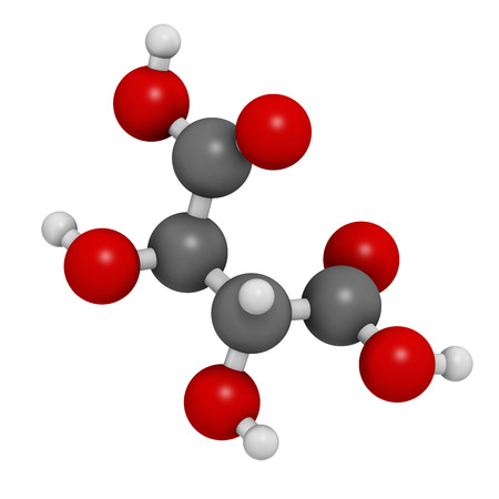 tartaric: Tartaric acid (dextrotartaric acid) molecule. Acid present in wine, added as oxidant additive E334 to food. Atoms are represented as spheres with conventional color coding: hydrogen (white), carbon (grey), oxygen (red).