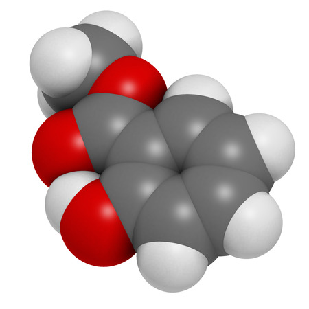 methyl: Methyl salicylate (wintergreen oil) molecule. Acts as rubefacient. Used as flavoring agent and fragrance. Atoms are represented as spheres with conventional color coding: hydrogen (white), carbon (grey), oxygen (red). Stock Photo