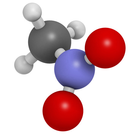 ammonium: Nitromethane nitro fuel molecule. Used as fuel to power rockets, drag racing cars, etc. Also used as high explosive. Atoms are represented as spheres with conventional color coding: hydrogen (white), carbon (grey), nitrogen (blue), oxygen (red). Stock Photo