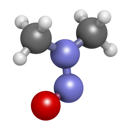 carcinogen: N-Nitrosodimethylamine (dimethylnitrosamine, NDMA, DMN) pollutant molecule. Highly toxic, especially to the liver and suspected carcinogen. Atoms are represented as spheres with conventional color coding: hydrogen (white), carbon (grey), nitrogen (blue),