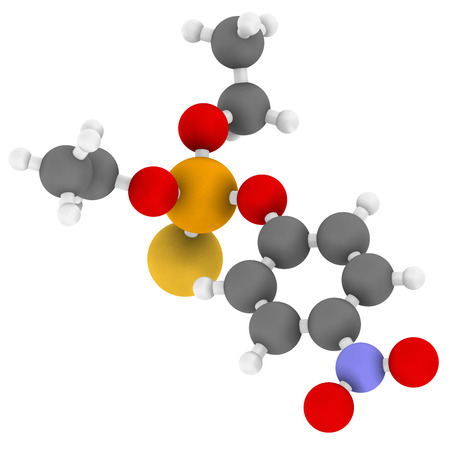 acetylcholinesterase: Parathion pesticide molecule. Organophosphate insecticide, has also been used as chemical weapon. Atoms are represented as spheres with conventional color coding: hydrogen (white), carbon (grey), nitrogen (blue), oxygen (red), sulfur (yellow), phosphorus