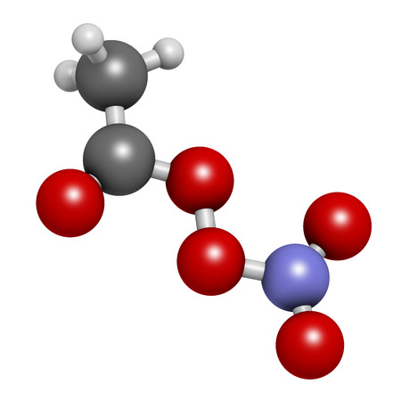 Peroxyacetyl nitrate (PAN) pollutant molecule. Secondary pollutant, found in photochemical smog. Further decomposes into peroxyethanol radical and nitrogen dioxide. Atoms are represented as spheres with conventional color coding: hydrogen (white), carbon