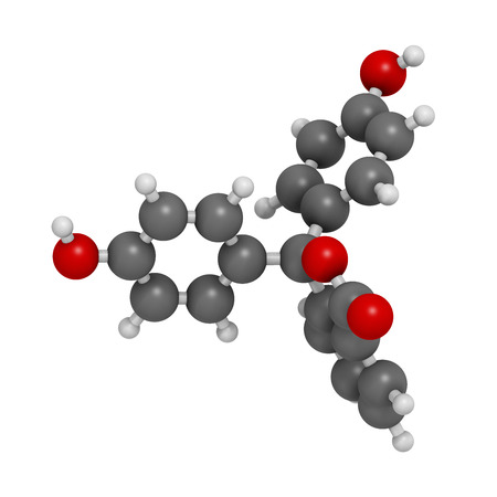 laxative: Phenolphthalein indicator molecule. Used in acid base titrations and as laxative. Atoms are represented as spheres with conventional color coding: hydrogen (white), carbon (grey), oxygen (red).