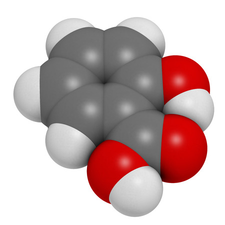 Salicylic acid molecule. Used in cosmetics, in dermatological medicines, etc. Atoms are represented as spheres with conventional color coding: hydrogen (white), carbon (grey), oxygen (red). photo